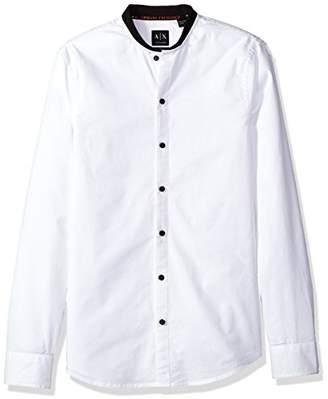 Armani Exchange A|X Men's Collarless Slim Fit Oxford Button Down Shirt
