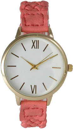 OLIVIA PRATT Olivia Pratt Womens Gold-Tone White Dial Coral Braided Faux Leather Strap Watch 15141