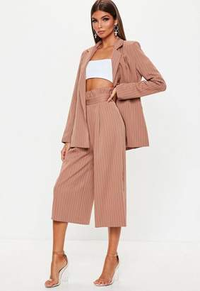 Missguided Rust Pinstripe Paperbag Waist Culottes
