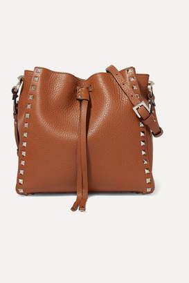 Valentino Garavani Rockstud Small Textured-leather Bucket Bag - Brown