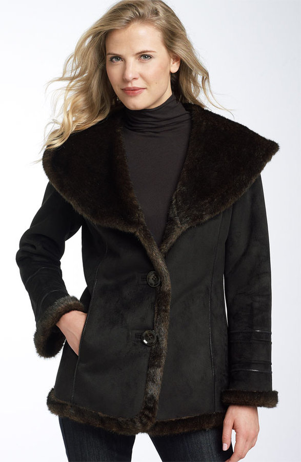 Bernardo Faux Shearling Trim Hooded Coat