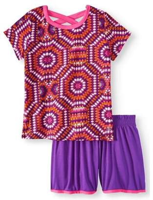 Gaiam Criss Cross Printed Top And Short, 2-Piece Active Set (Little Girls & Big Girls)