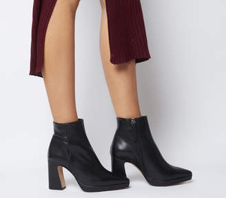 Office After Party Platform Boots Black Leather