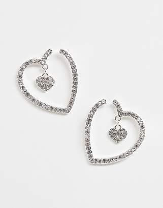 2d56bb956 Lipsy heart jewelled earring in silver