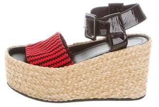 Celine Knit Ankle-Strap Wedges