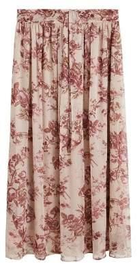 MANGO Floral chiffon skirt pastel pink - XXS - Women