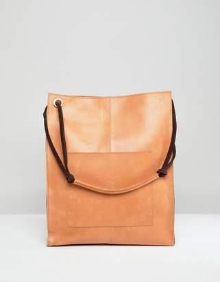 Asos Design DESIGN leather vintage shopper with front pocket