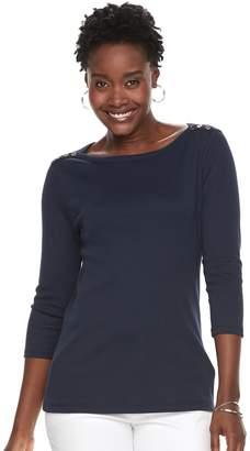 Croft & Barrow Women's Button-Shoulder Boatneck Tee