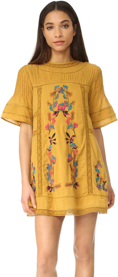 Free People Perfectly Victorian Embroidered Mini Dress 8