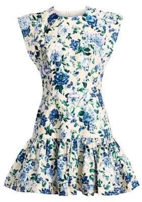 Zimmermann Moncur Floral Linen Midi Flounce Dress
