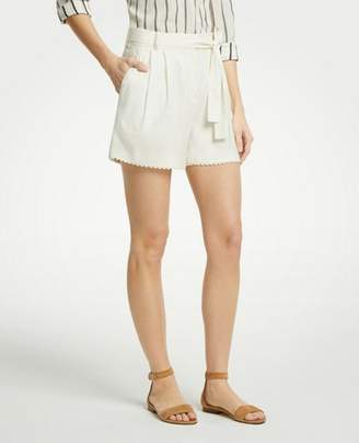 Ann Taylor Scalloped Trim Tie Waist Shorts