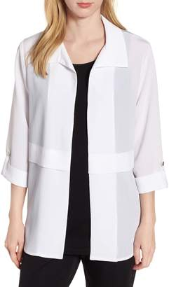 Ming Wang Gauzy Roll-Tab Sleeve Jacket