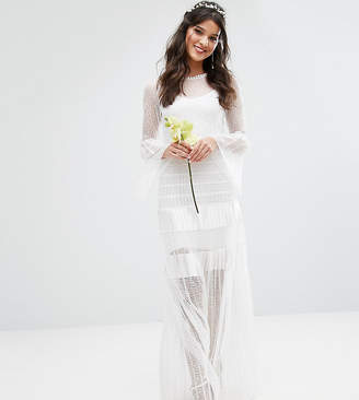 Body Frock Bodyfrock Bridal Pleated Maxi Dress With Fluted Sleeves
