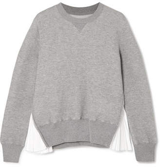 Sacai Zip-detailed Poplin-paneled Cotton-blend Jersey Sweatshirt - Light gray