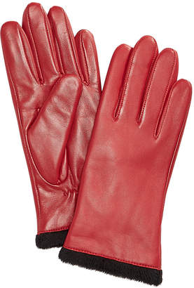 Charter Club Micro Faux Fur Lined Leather Tech Gloves
