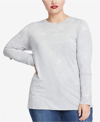 Rachel Roy Trendy Plus Size Foil-Print Slit-Sleeve T-Shirt
