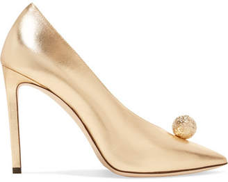 Jimmy Choo Sadria 100 Embellished Metallic Leather Pumps - Gold