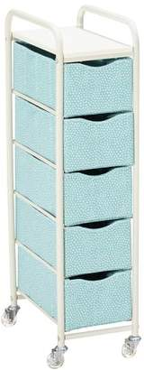 Pottery Barn Teen Ready-To-Roll Storage Cart, 5-Drawer Tall, Pool Mini Dot