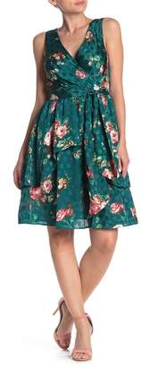 Walter Baker Kelson Floral Satin Ruffle Dress