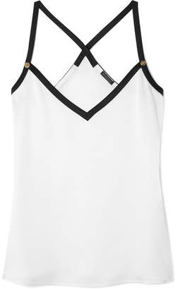 Versace Embellished Two-tone Crepe Camisole - White