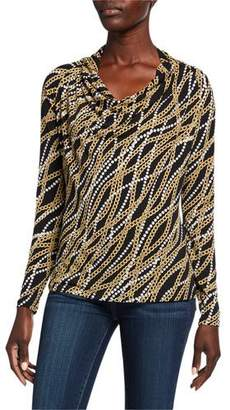 MICHAEL Michael Kors Link Cowl-Neck Long-Sleeve Bias Top