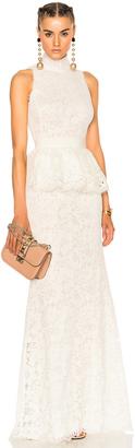 Alexander McQueen Lace Peplum Gown $6,995 thestylecure.com