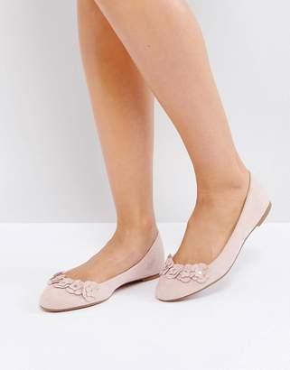 London Rebel Flower Trim Slipper Shoes