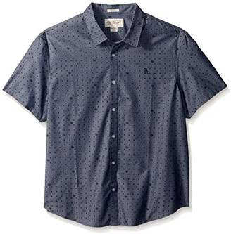 Original Penguin Men's Short Sleeve Radio Waves Printed Chambray Shirt