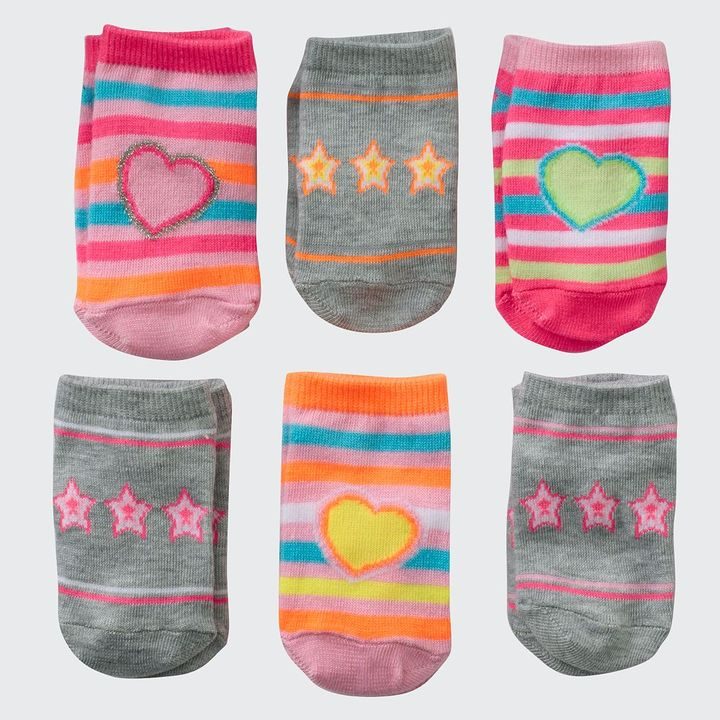 Pink Cookie 6-pk. heart, star & striped socks - toddler