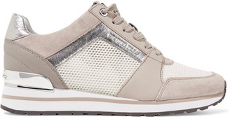 MICHAEL Michael Kors - Billie Leather And Suede-trimmed Mesh Sneakers - Beige $145 thestylecure.com