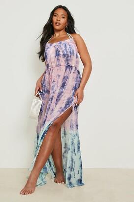 boohoo Plus Katy Tie Dye Dip Dye Maxi Dress