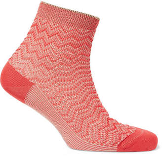 Missoni Metallic Crochet-knit Socks - Red