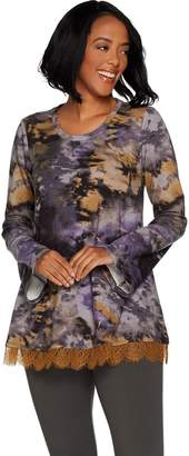 Logo By Lori Goldstein LOGO Lounge by Lori Goldstein Printed French Terry Swing Top w/ Lace at Hem