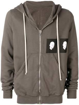 Rick Owens patched zip hoodie
