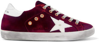 Golden Goose Superstar Distressed Velvet And Leather Sneakers - Burgundy