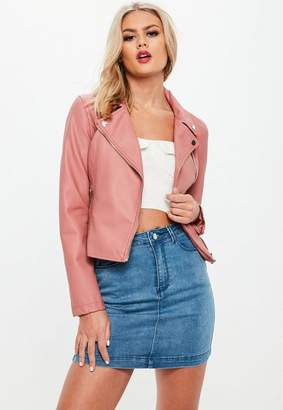 Missguided Pink Faux Leather Biker Jacket