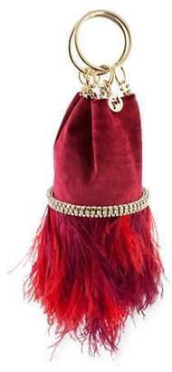Rosantica Ghizlan Velvet Feather Minaudiere Bag