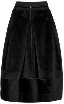 High Duet Faux Calf Hair Midi Skirt
