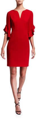Elie Tahari Natanya V-Neck Ruffle-Sleeve Sheath Dress
