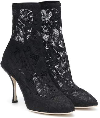 Dolce & Gabbana Stretch lace ankle boots