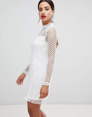 Rare London long sleeve crochet dress