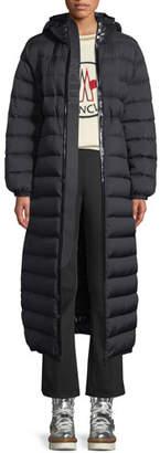 Moncler Grue Long Puffer Coat w/ Contrast Hood