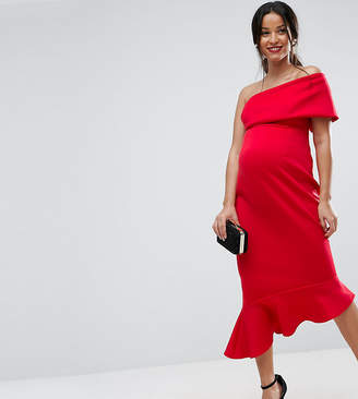 Asos Maternity One Shoulder Peplum Hem Midi Dress