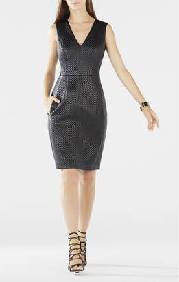BCBGMAXAZRIA Livie Quilted Faux-Leather Dress
