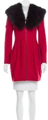 Alice + Olivia Fox Fur Trim Wool Coat