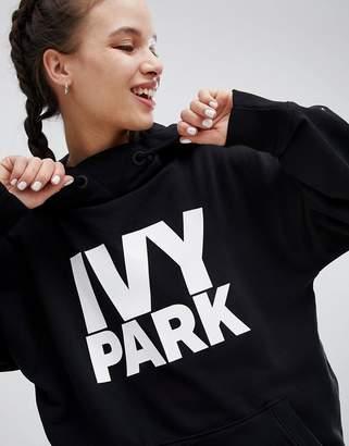 Ivy Park Logo Oversized Hoodie In Black