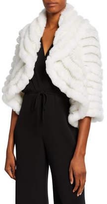 Neiman Marcus Striped Fur & Cashmere Shrug