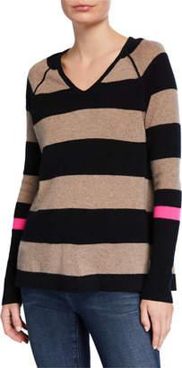 LISA TODD Plus Size Hype Multi-Stripe V-Neck Cashmere Sweater w/ Pop Color Sleeve