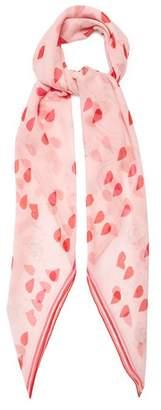 Alexander McQueen Petal And Skull Print Silk Chiffon Scarf - Womens - Pink