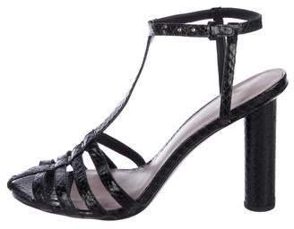 Diane von Furstenberg Snakeskin Ankle Strap Sandals